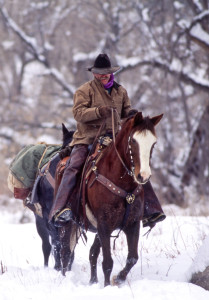 Denney out riding in winter