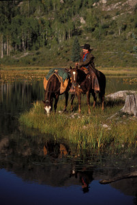 Denney at alpine pond with horses